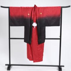 男性袴 赤黒グラデ